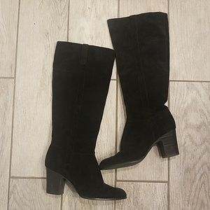Tesori black suede womens heel boots size 7.5M